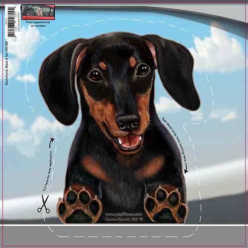 Dachshund (Black & Tan) - Dogs On The Move Window Decal