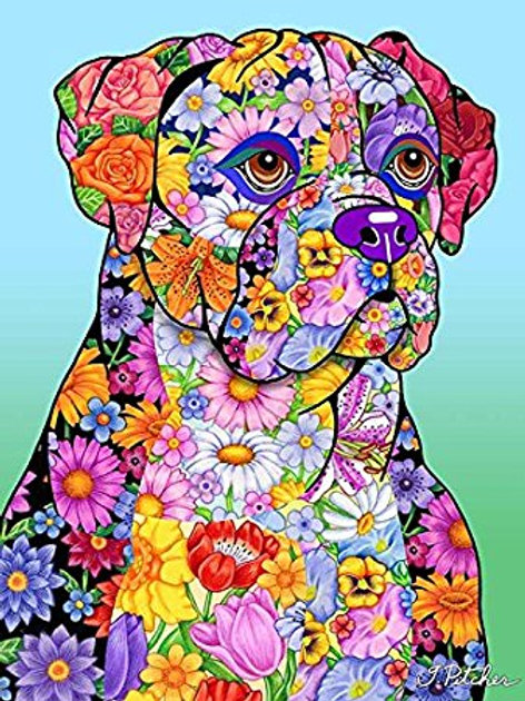 Boxer -Flowers Design Garden Flag