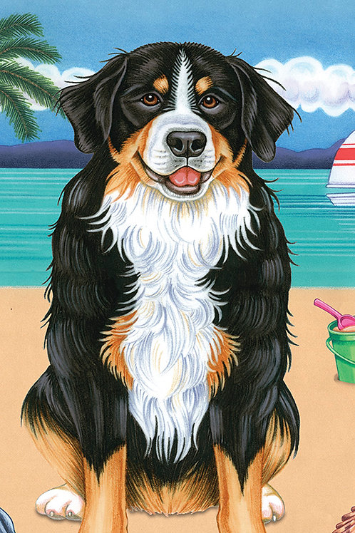 Bernese Mountain Dog -Terry Velour Microfiber Beach Towel