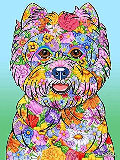 Westie-Flowers Design Garden Flag