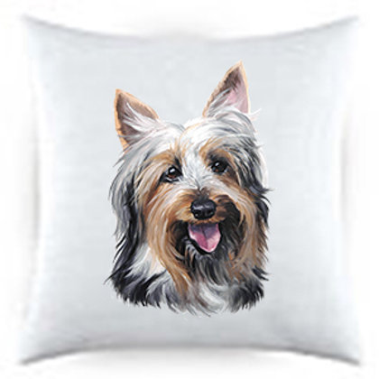 Silky Terrier Dog Portrait Satin Throw Pillow
