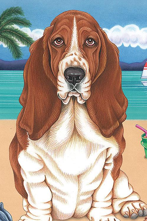 Basset Hound -Terry Velour Microfiber Beach Towel