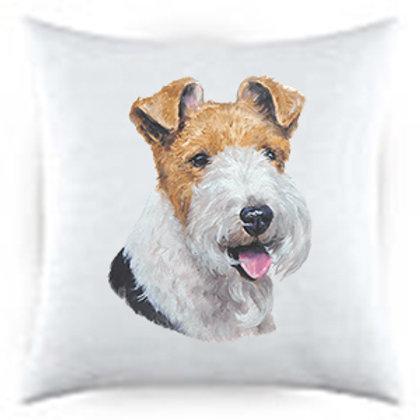 Wire Fox Terrier Dog Portrait Satin Throw Pillow
