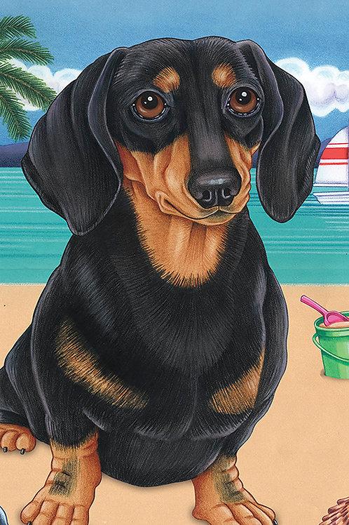 Dachshund Black and Tan-Terry Velour Microfiber Beach Towel