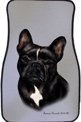 Black/white French Bulldog Best of Breed Car Mats (set of 2)