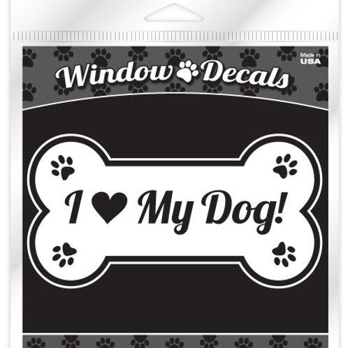 I love my dog (bone) White vinyl sticker decal