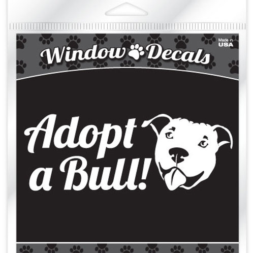 Adopt a Bull•White vinyl sticker decal
