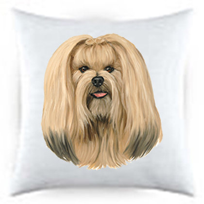 Lhasa Apso Dog Portrait Satin Throw Pillow