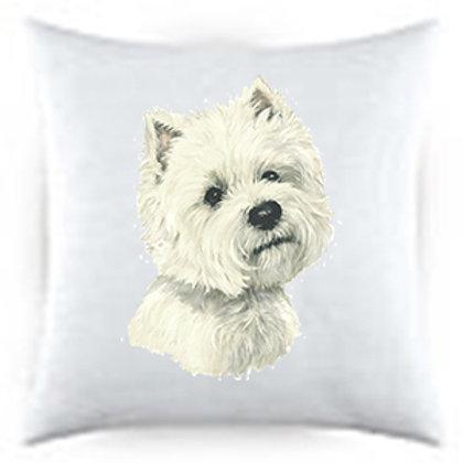 Westie Dog Portrait Satin Throw Pillow