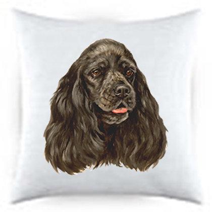 Black Cocker Spaniel Dog Portrait Satin Throw Pillow