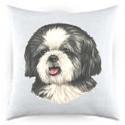 Shih Tzu Puppy Dog Portrait Satin Throw Pillow