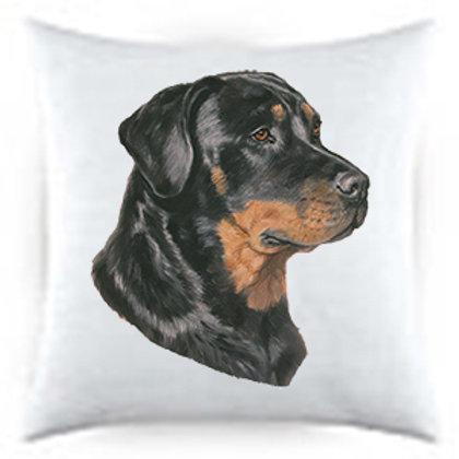 Rottweiller Dog Portrait Satin Throw Pillow