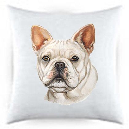 French Bulldog Portrait Satin Throw Pillow