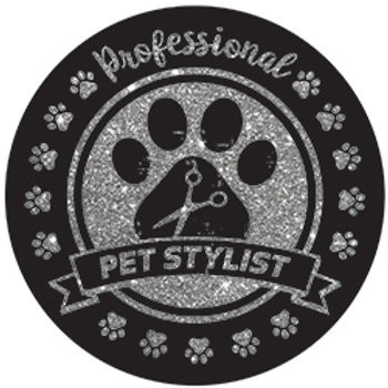 Professional Pet Stylist Silver Glitter Magnet