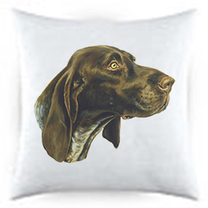 German Shorthair Pointer Dog Portrait Satin Throw Pillow