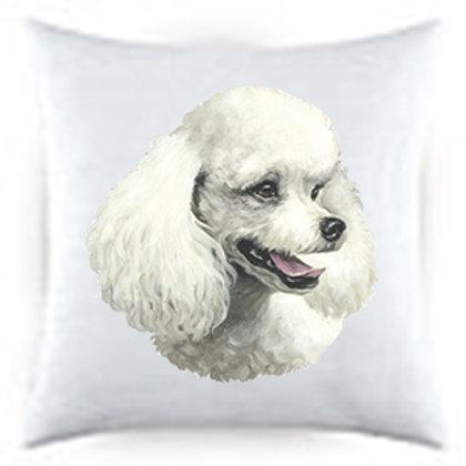 White Poodle Dog Portrait Satin Throw Pillow