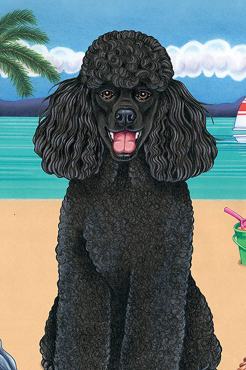 Poodle Black -Terry Velour Microfiber Beach Towel