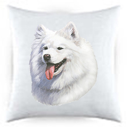 Samoyed Dog Portrait Satin Throw Pillow