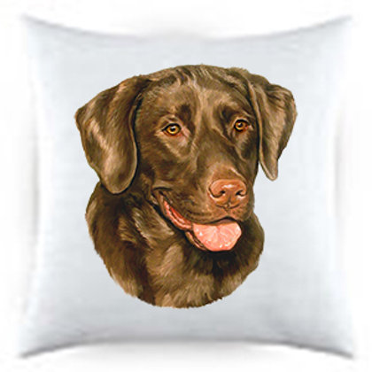 Chocolate Lab Dog Portrait Satin Throw Pillow