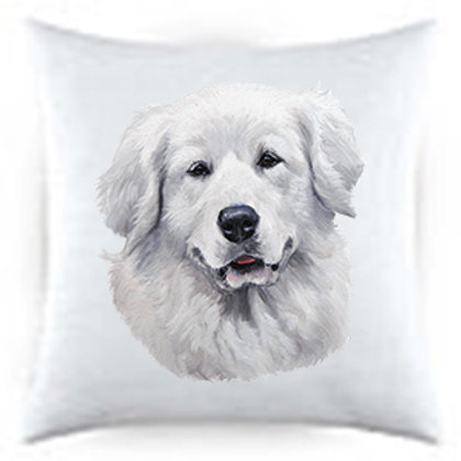 Great Pyrenees Dog Portrait Satin Throw Pillow