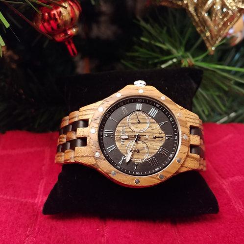 Men's Zebra & Ebony Wood Watch