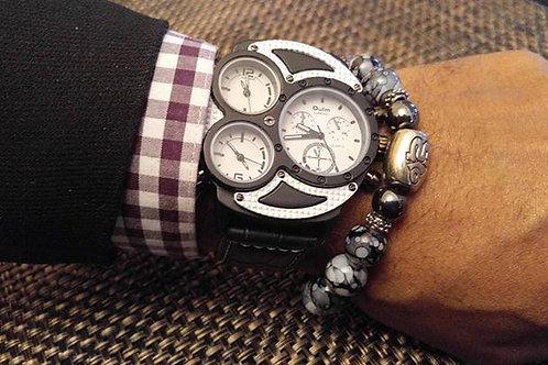 Mens Black & White 3 Dial Watch