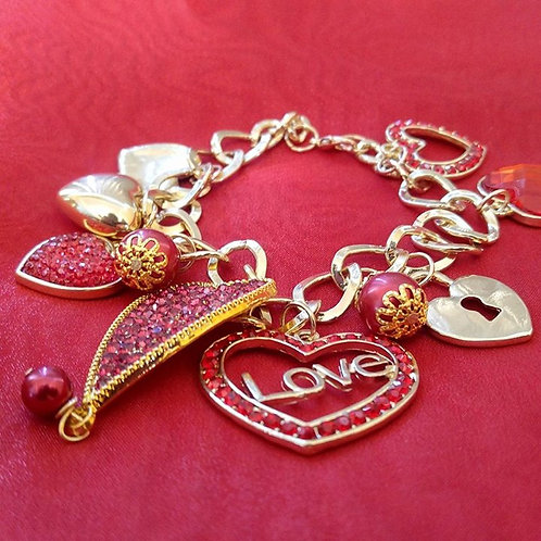 Red Hearts Of Love Bracelet