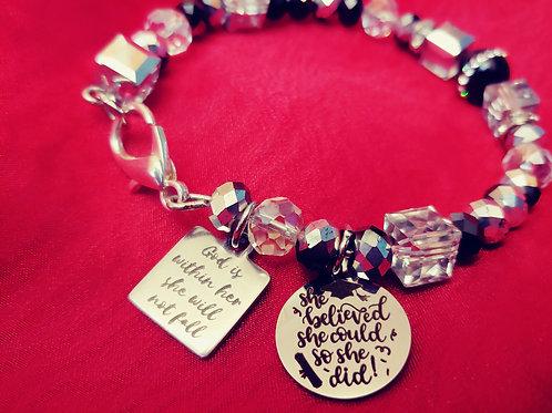 """She Believed She Could"" Grad Bracelet"