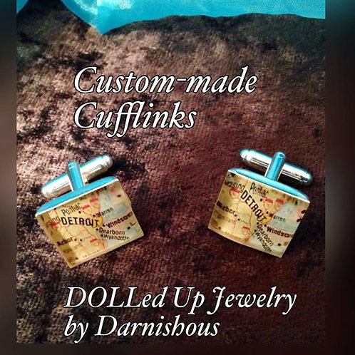DETROIT Map Custom-made Cufflinks