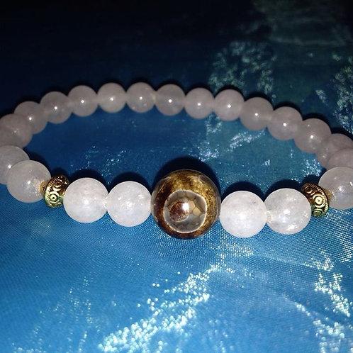 (Angel) Mens White Jade Bracelet
