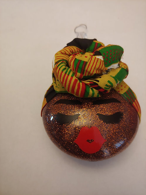 Wrapped Afro Girl Ornament