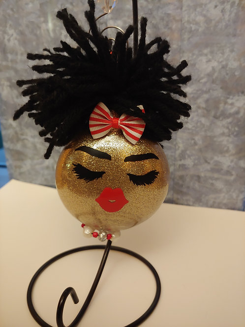 Dolled Up Girl Ornament (Red&White)