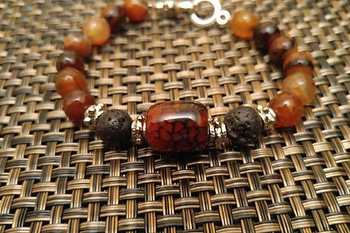 Mens Lava Stone and Burnt Orange Bracelet