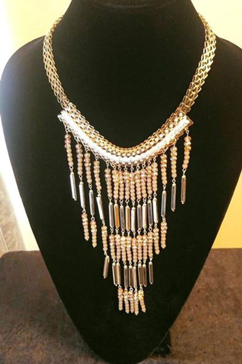 Gold & Crystal Tassel Statement Necklace