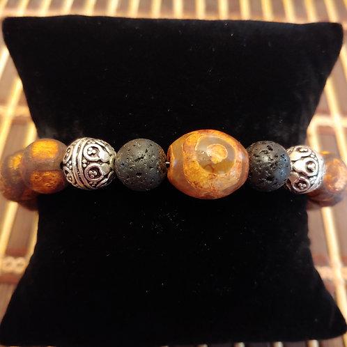 Men's Tibetian Agate & Lava Stone Bracelet