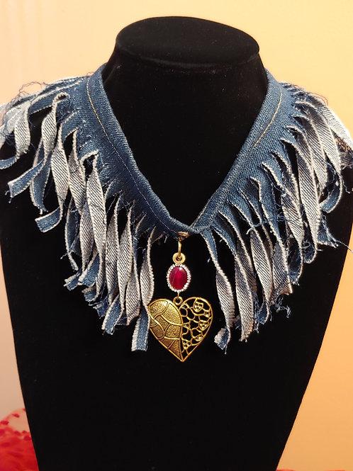 Golden Heart Denim Necklace