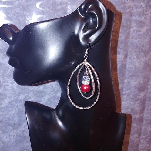 Red Double Loop Earrings