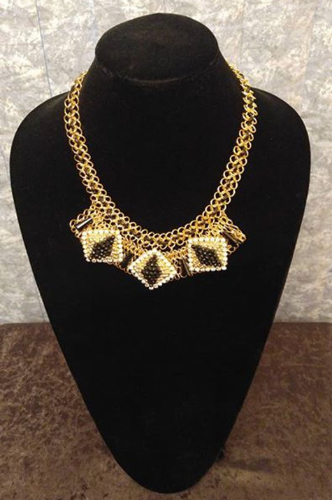 Gold Black Crystal  Bead Bib
