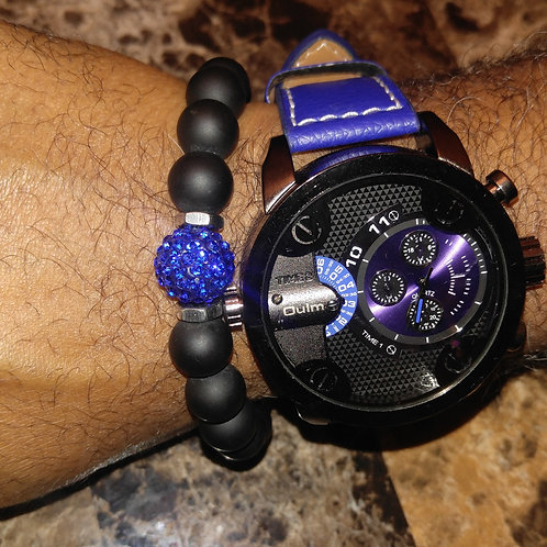 Men's Blue 3 Dial Watch