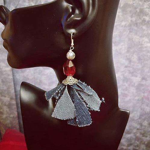 Ruby Red & Denim Earrings