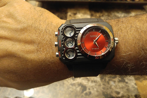 Mens Red & Black Watch