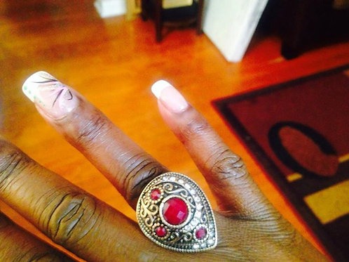 Red Bohemian Style Ring