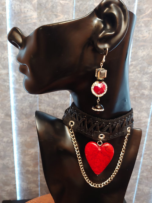 Leather Heart Chocker Necklace Set