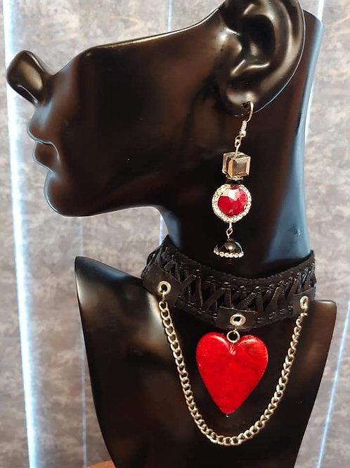 Heart & Chain  Choker Necklace Set
