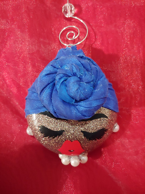 Wrapped Blue Dolled Up Ornament