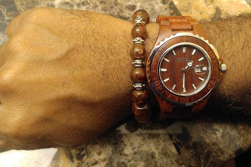 Men's Natural Wood Watch Silver Trim