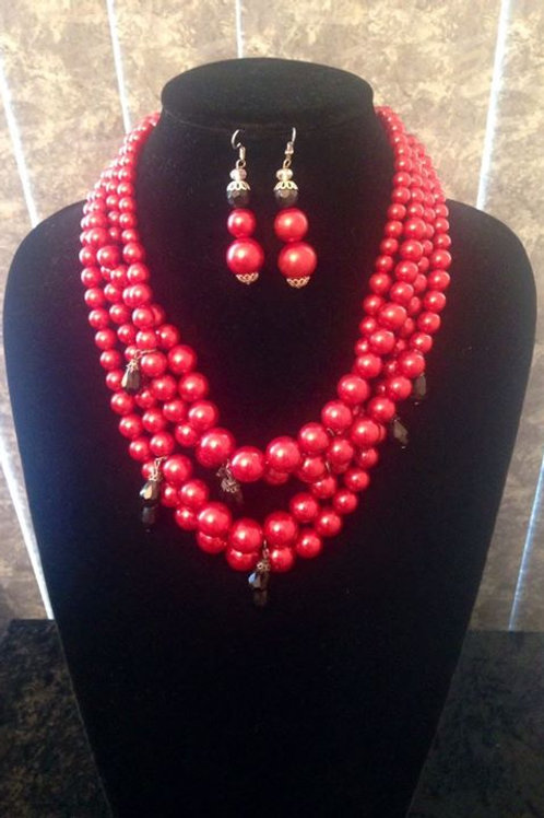 Red Pearl Necklace & Earrings Set