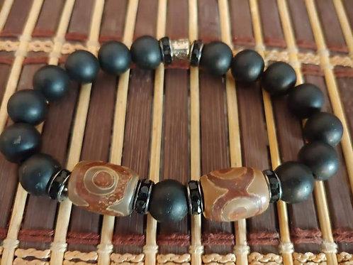 Men's Tibetian Agate & Onyx Bracelet