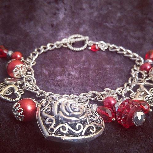 Rose Heart Charm Bracelet