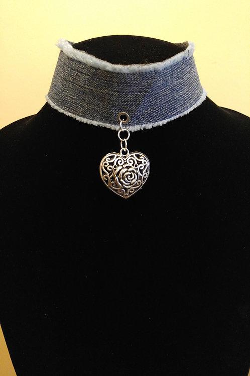 Rose Heart Denim Choker Necklace